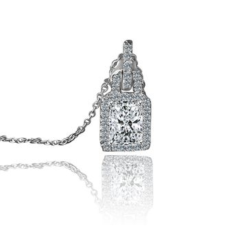 1.5ct Radiant Rectangular Cut Simulated Diamond Sterling Silver Pendant 635P10826A
