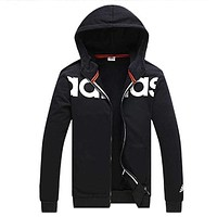"""Adidas"" Men Women Fashion Print Hooded Zip Cardigan Jacket Coat Sweatshirt Black"