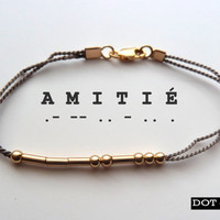 Gold AMITIÉ Morse Code silk friendship bracelet by DotDashShop