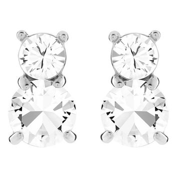 Swarovski Pierced Earrings SOLITAIRE Studs Earrings Rhodium Plated, Clear - 5128808