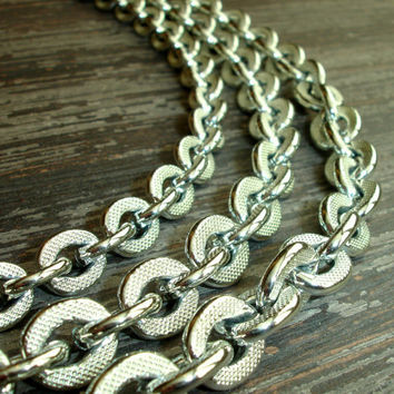 Vintage Silver Layered Necklace, Chain Necklace, Multi Layer Necklace, Choker Necklace, Thick Chain, Textured Links, Three Layers, Chunky