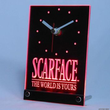 tnc0153 Scarface The World is Yours Bar Beer Table Desk 3D LED Clock