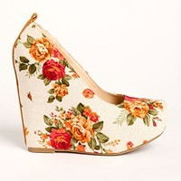 Floral Canvas Wedges
