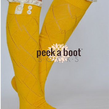 Peek A Boot Mustard Lace Boot Socks