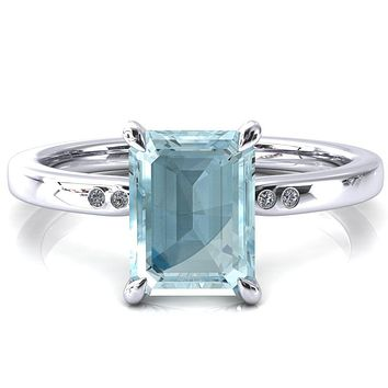 Maise Emerald Aqua Blue Spinel 4 Prong Diamond Accent Engagement Ring