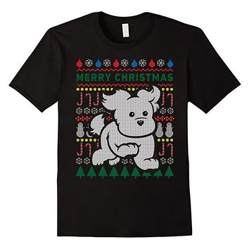 Cute Puppy Merry Christmas Ugly Sweater Style T-shirt
