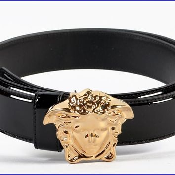 New Versace Black Patent Leather 3D Medusa Belt 105/42