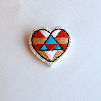 Heart jewelry embroidered geometric in Southwest design for Valentine's Day