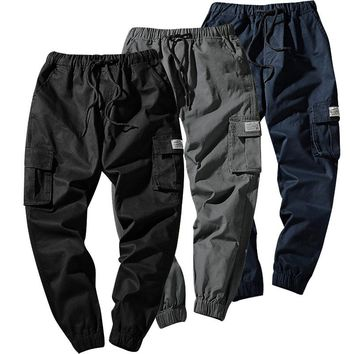 Men Hip Hop Streetwear Casual Cotton Cargo Pant Multi Pocket Pants for Male Jogger Sweatpants K9023