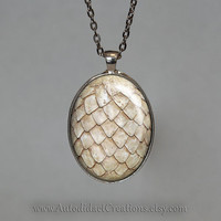 White Dragon Egg Pendant, Khaleesi Jewelry, Dragon Necklace, Inspired by Game of Thrones, Dragon Egg Necklace, Dragon, Geekery, Goth, Gothic