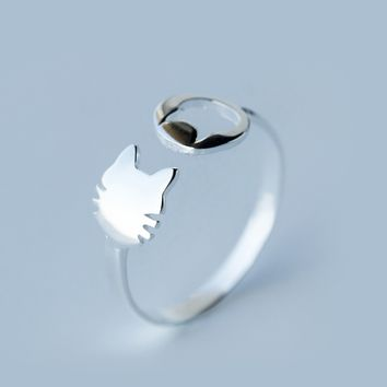 Cute small cat 925 Sterling Silver opening ring, a perfect gift