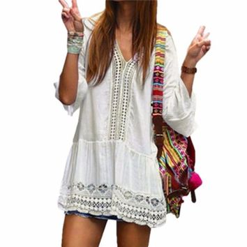 Women's Bohemian Style White Summer Beach Bathing Suit Cover Up Tunic Dress Top