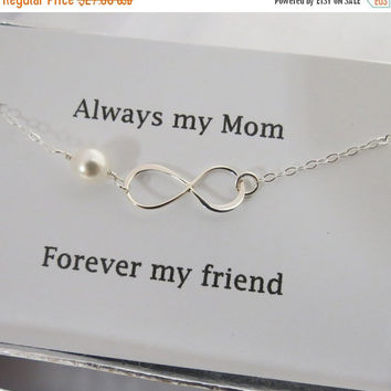 ON SALE Always My Mom Infinity Bracelet -Mother of Bride or Groom, Eternity Bracelet, Wedding Special Gift, Jewelry Card Set, Mother's Day B