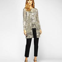 Alex Evenings Printed Mesh Twinset - Black/Gold