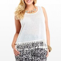 Plus Size Cloud Crochet Fringe Top | Fashion To Figure