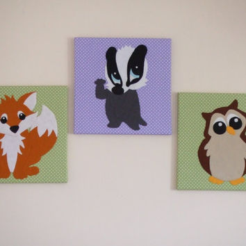 Set Of 3 Handmade Felt Fabric Woodland Animal Nursery Decor Wall Art Canvas Pictures Wall Hangings Fox Badger Owl Handmade Gifts