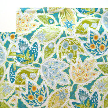 Large Cloth Placemats - Set of 2 - Teal Green Orange Leaves -  Reversible