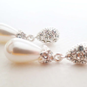 Bridal Drop Pearl Earrings Rhinestone Drop Bridal Dangle Earrings Wedding Earrings Jewelry Art Deco Pearl Earrings