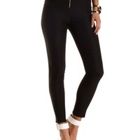 Ruched Zip-Up High-Waisted Skinny Pants by Charlotte Russe