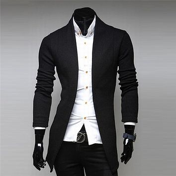 Mens Sweater Cardigans Knitwear Outwear V Neck Long Sleeve Sweaters Brand High Quality Cotton Soft 0106