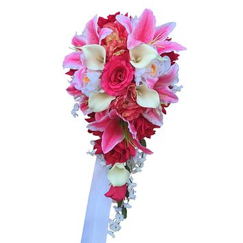 Cascade bouquet - Shades of Pinks(hot pink,baby pink), white,rose,peony,calla lily bouquet