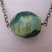 Green With Envy  Chunky Green Faceted Agate
