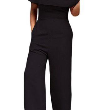 Black Cape Off Shoulder Pocket Wide Leg Jumpsuit