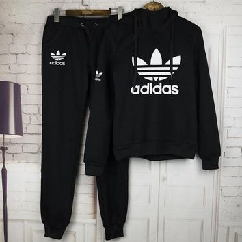Adidas:Sleeve Shirt Sweater Pants Sweatpants Set Two-Piece Sportswear