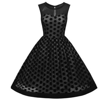 CREYM83 Elegant Sleeveless Polka Dot Mesh Retro Rockabilly Swing Dress