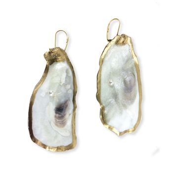 Gold Oyster Earrings