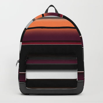Spash of Color Silver Burgundy Black White Stripes Backpack by Sheila Wenzel