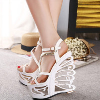 Summer Women All-match Retro Fashion Hollow Platform Wedge Gladiator Sandals Ladies High Heels Shoes