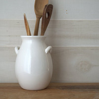 White Stoneware Crock, White Utensil Crock, White Kitchen Crock, Ceramic Utensil Holder Crock