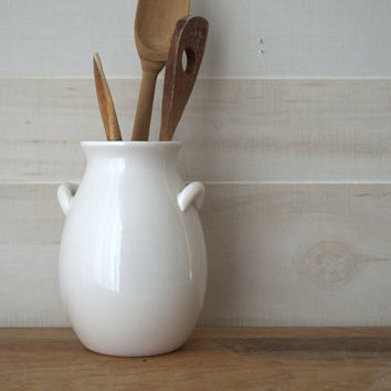 White Stoneware Crock, White Utensil Crock, White Kitchen Crock,