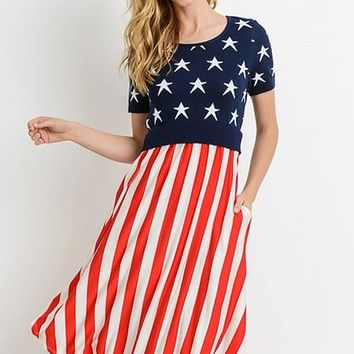 American Flag Midi Dress W/ Pockets