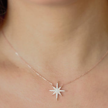 Pendant, Necklace / North Star Necklace / Polaris Necklace, Sterling Silver Star Necklace, Gift Ideas / For Her