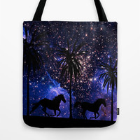 Galloping horses under starry sky Tote Bag by Laureenr