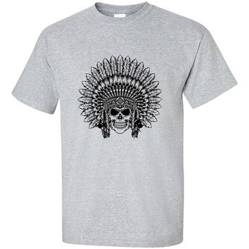 Indian Sugar Skull Headdress Native American Cheaf Indian Skull Head T-Shirt