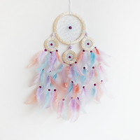DreamCatcher, Boho Dreamcatcher, Pastel Dream catcher, Pink dreamcatcher Handmade, Boho Wall Hanging, Home Decor, Feathers , Gypsy
