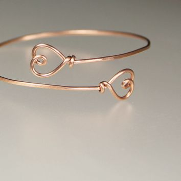 14k rose golf filled heart wiring  bangle bracelet Bridesmaids gifts Free US Shipping handmade Anni Designs