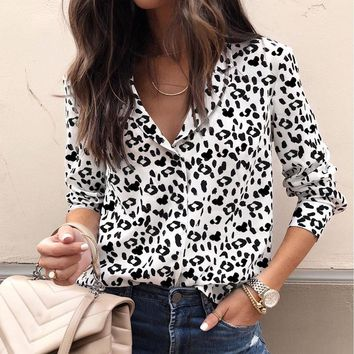 Black And White Leopard Blouse Women Buttons Front Lapel Shirt Long Sleeve Highstreet Tops And Blouses #RN