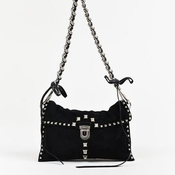 Prada Black Suede Chain Strap Studded Flap Bag