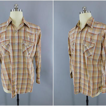 1960s Vintage Western Shirt / 1970s Plaid Shirt / Menswear / DEE CEE Western Wear / Casual Shirt / Tan Brown Tartan Plaid / Large