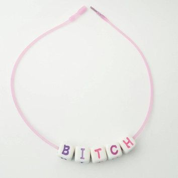 Pink 90's Style Choker, Fun Block Letter Necklace, Hipster Chokers