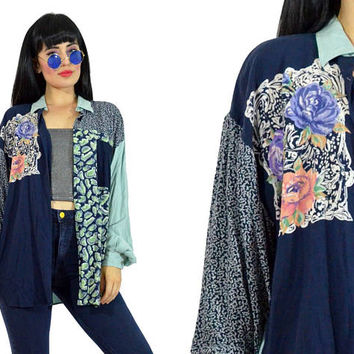 vintage 90s patchwork floral button up shirt slouchy oversized minty green pastel grunge top boho blouse romantic small medium