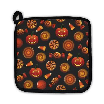 Potholder, Halloween Candy Pattern With Pumpkins