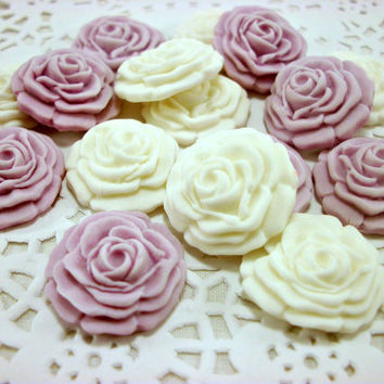 50 Wedding Candy Favors, White Purple, Cupcake Fondant Flower, Rose Topper, Edible Topper, Sugar Flower Cake, Wedding Cake Topper
