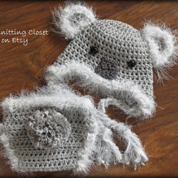Newborn Photo Prop - Crochet Diaper Cover Pattern and Hat Pattern - Soaker Pattern - Koala Bear Pattern