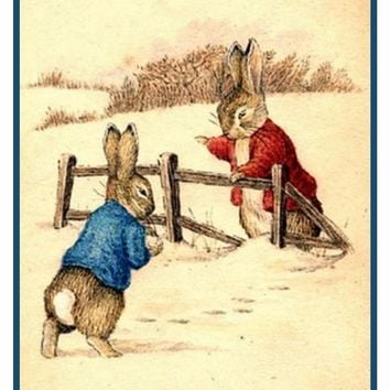 Peter Ben Rabbit Snow Ball Fight inspired by Beatrix Potter Counted Cross Stitch Pattern