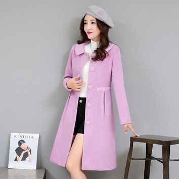Korean version solid color wool coat lady autumn winter warm coat long thigh waist woolen single breasted  Doll Collar outwear